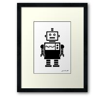 Robot graphic (Black on white) Framed Print