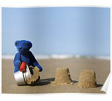 Blue Bear's day at the beach!  8 x 10 inch Poster