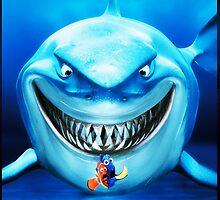 Nemo Clown Fish and White Shark by neutrone