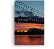 Sunset Under Roebling Bridge Canvas Print