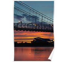 Sunset Under Roebling Bridge Poster