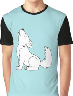 White Howling Wolf Pup Graphic T-Shirt