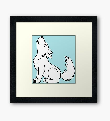White Howling Wolf Pup Framed Print