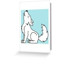 White Howling Wolf Pup Greeting Card