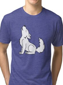 White Howling Wolf Pup Tri-blend T-Shirt