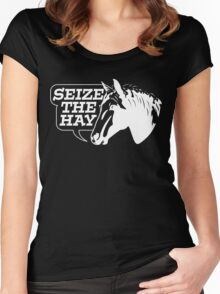 Seize The Hay (White Print) Women's Fitted Scoop T-Shirt