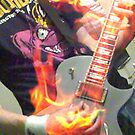 Flaming guitar  by Robert  Taylor