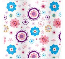 vintage flower pattern line art. Vector illustration Poster