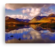 Mount Reflects on the Moor Digital Art Canvas Print