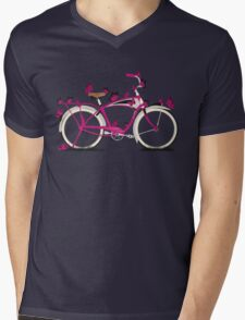 Butterfly Bicycle Mens V-Neck T-Shirt