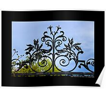 Vintage Wrought Iron Gate Detail - Upper Brookville, New York Poster