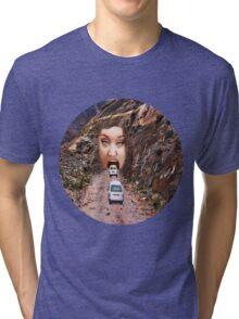 (✿◠‿◠) FACE IN MOUNTAIN OPEN MOUTH DRIVE THROUGH TEE SHIRT (✿◠‿◠) Tri-blend T-Shirt