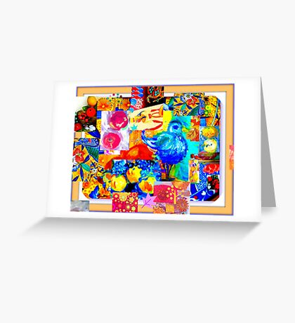 Egyptian Blue Bird with Fruit Greeting Card