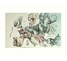 Comic map of Europe by Frederick Rose, c.1870 (litho) Art Print