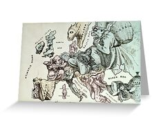 Comic map of Europe by Frederick Rose, c.1870 (litho) Greeting Card