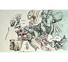Comic map of Europe by Frederick Rose, c.1870 (litho) Photographic Print