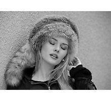 Girl in a Davey Crockett hat Photographic Print