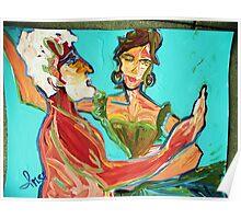 IMAGINARY DANCE - acrylic, tempera, paper 18 x 24'' Poster