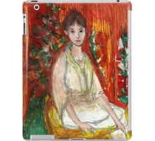 Lady In Front Of Decorated Screen iPad Case/Skin
