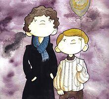 Sherlock and John and a yellow smile balloon by Bantambb
