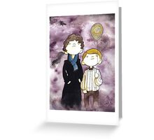 Sherlock and John and a yellow smile balloon Greeting Card