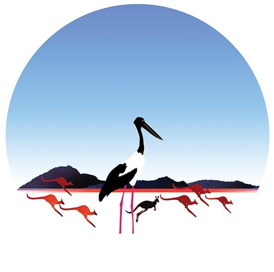 "Day 149   365 Day Creative Project  ""Jabiru & Kangaroos"" by Robyn Williams"