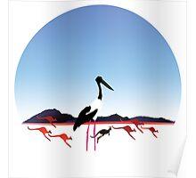 "Day 149   365 Day Creative Project  ""Jabiru & Kangaroos"" Poster"