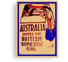 Australia invites the British domestic girl  Canvas Print