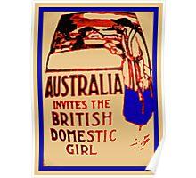 Australia invites the British domestic girl  Poster