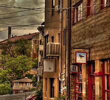 Stormy Street Of Jerome Arizona by Diana Graves Photography
