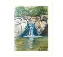 Waterfall flowing into pond Art Print