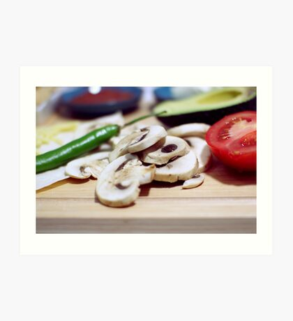 Mushrooms and other vegetables Art Print