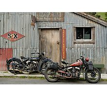 Indian Chout and Chief Bobber at the old Okains Bay Garage Photographic Print