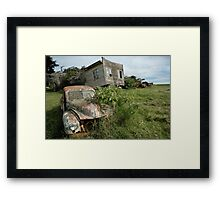 Derelict Morris and old truck on an abandoned farm Framed Print
