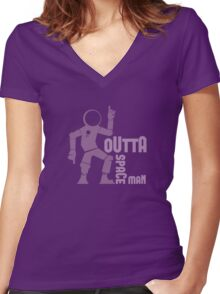 Funky Dancing Outta Spaceman Graphic Women's Fitted V-Neck T-Shirt
