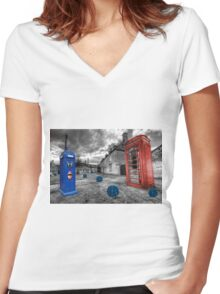 Revenge of the killer phone box  Women's Fitted V-Neck T-Shirt