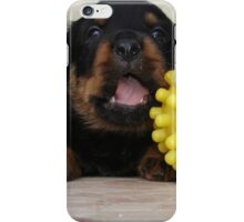 Tiny Rottweiler Puppy Playing With Large Toy Ball iPhone Case/Skin