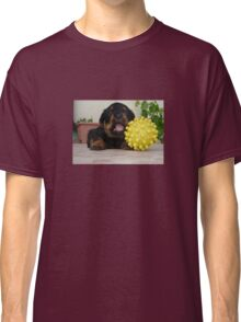Tiny Rottweiler Puppy Playing With Large Toy Ball Classic T-Shirt