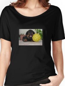 Tiny Rottweiler Puppy Playing With Large Toy Ball Women's Relaxed Fit T-Shirt