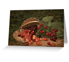 Fruit Still Life - Basket of Cherries - Vintage Painting of Cherries - Fruit Images Greeting Card