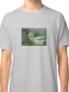 Green Mantis With Garden Background Vector Classic T-Shirt