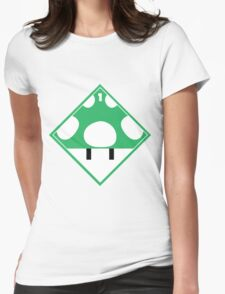 1up Mushroom Shipping Placard Womens Fitted T-Shirt