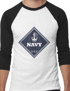 WW2 American Navy Shipping Placard Men's Baseball ¾ T-Shirt