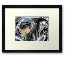 Motorcycle Engine Reflection Framed Print