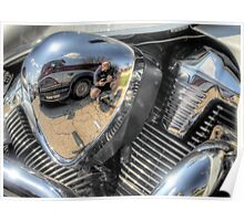 Motorcycle Engine Reflection Poster