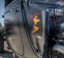 Flat Black Hot Rod With Lady Decal by David Shayani