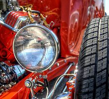 Red Hot Rod Close Up Of Headlight by David Shayani