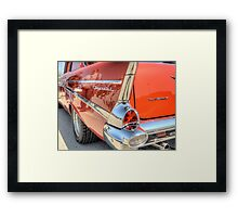 Rear End Of a Red Classic Car Framed Print