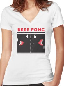 Beer Pong Women's Fitted V-Neck T-Shirt