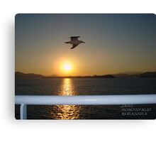 Sunset On The Boat Canvas Print